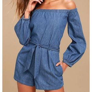 Free people tangle in willows demin romper